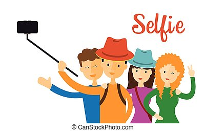 Group of Friend, Selfie - Men Women use Selfie Stick with...