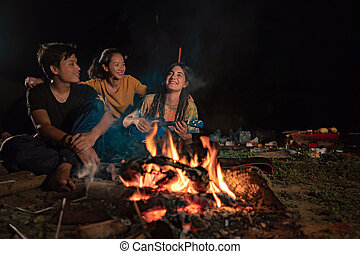 group of friends camping, enjoy the night with guitar a sing a s
