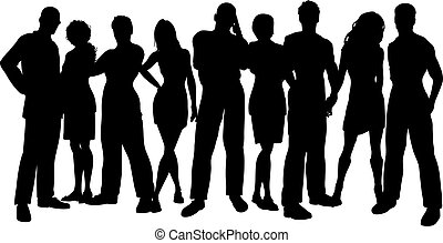 Group of friends - Silhouette of a group of friends