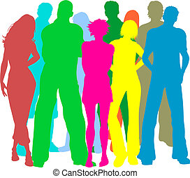 Group of friends - Colourful silhouettes of people