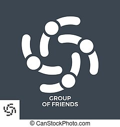 Group of Friends Glyph Vector Icon.