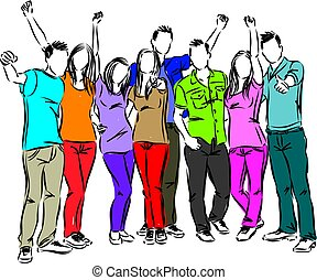 group of friends happy people illustration