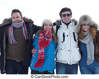 group of friends have fun and relaxing on winter vacation