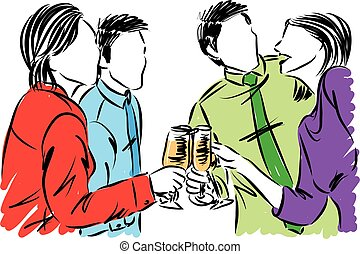 group of friends having party with drinks vector illustration
