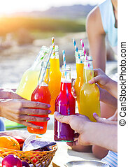 Group of friends holding drinks at the summer picnic