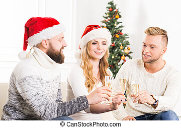 Group of friends in Christmas hats celebrating - Group of...