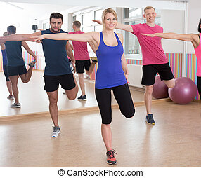 Group of friends in fitness club