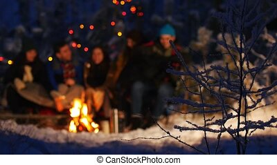 Group of friends in winter forest. A frozen bare bush in...