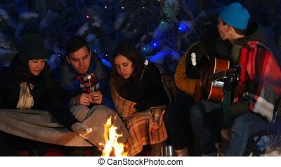 Group of friends in winter forest. Sitting near the bonfire and eating marshmallow