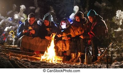 Group of friends in winter forest. Sitting near the bonfire. Frying marshmallow
