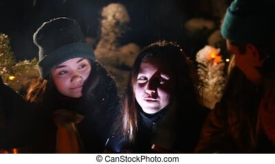 Group of friends in winter forest. Young woman tells her...