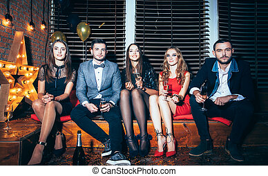 Group of friends on party event