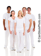group of friends on white