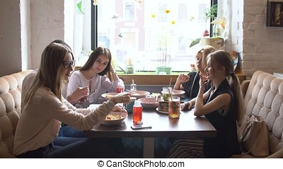 Group of friends people enjoy having lunch together
