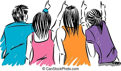 group of friends pointing vector illustration
