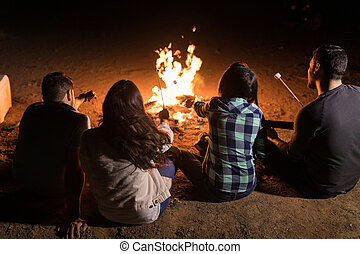 Group Of Friends Sitting Around Bonfire