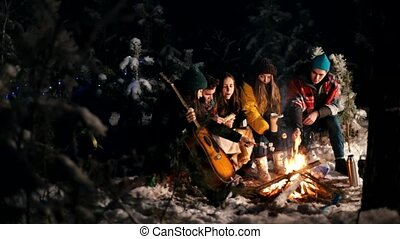 Group of friends sitting in winter forest by the fire and frying marshmallows. A young man holding guitar