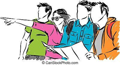 group of friends tourists travel illustration