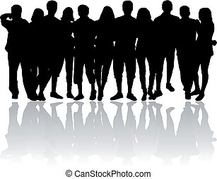 silhouette of a group of friends clipart search illustration rh canstockphoto com Four Friends Clip Art Best Friends Clip Art