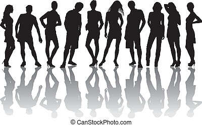 Group of friends - vector illustration of the young group of...