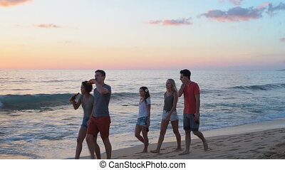 Group of friends walking on the beach 4k