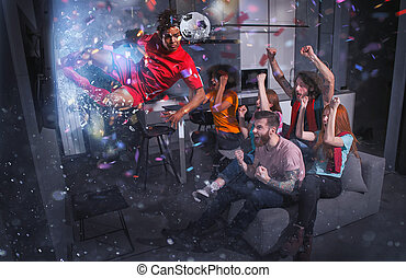 Group of friends watch a football match on television with a soccer player who exits from screen