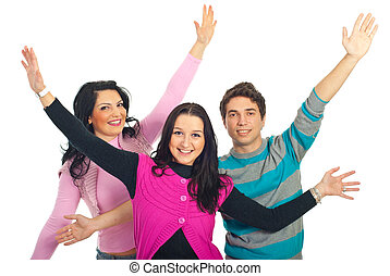 Group of friends with arms open