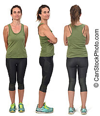 group of front,side and back view of same woman  with sportswear on white