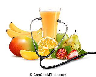 Group of fruit and a stethoscope. Dieting concept. Vector.