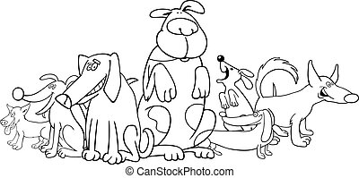 group of funny dogs for coloring