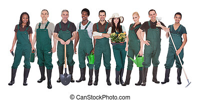 Group Of Multi Racial Gardener Workers Standing Over White Background