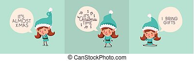 group of girl santa helpers with speech bubbles