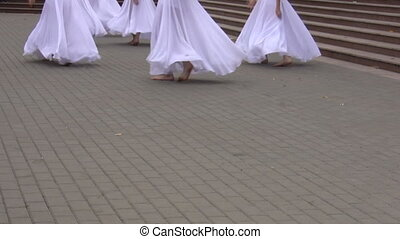 Group of girls dancing - Clip showing lower part of bodies...