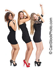 Group of girls dancing isolated