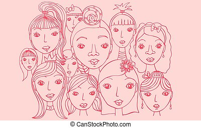Group of Girls Faces Vector Drawing