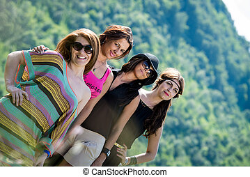 group of girls having fun