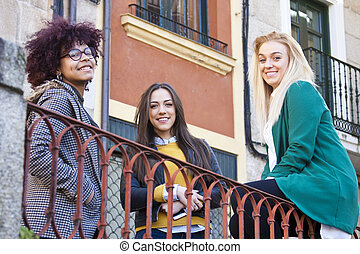 group of girls on the street
