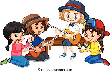 Group of girls playing different instruments on white background