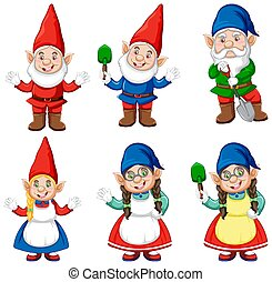 Group of gnome in gardener costume cartoon style isolated on...