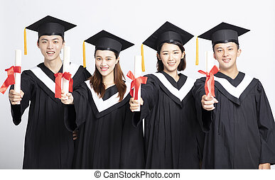 Group of graduate students. Isolated on white