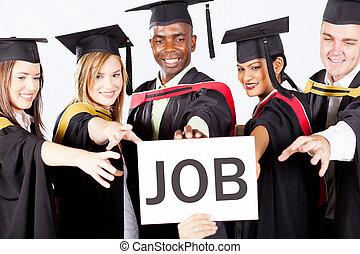 group of graduates grab job