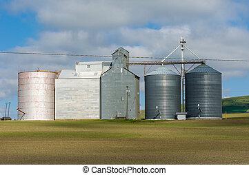 Group of grain storage silos