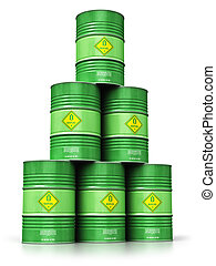Group of green biofuel drums isolated on white background -...