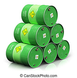 Group of green biofuel drums isolated on white background