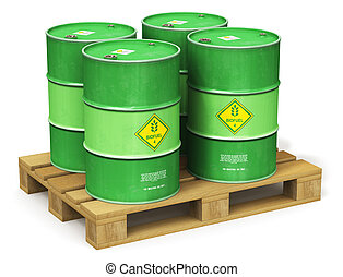 Group of green biofuel drums on shipping pallet isolated on...