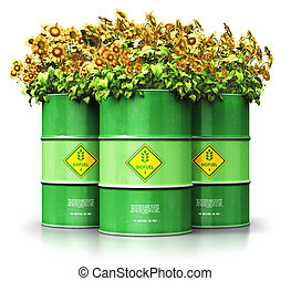Group of green biofuel drums with sunflowers isolated on...