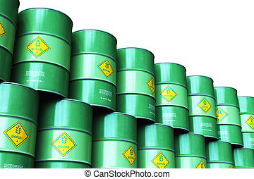 Group of green stacked biofuel drums isolated on white...