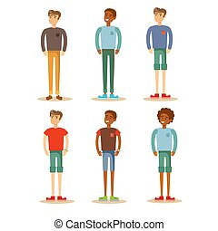 Group of guys. Set of male characters on a white background.
