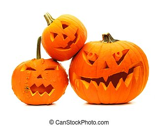 Group of Halloween Jack o Lanterns - Group of varied...