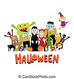 Group of Halloween Monster Characters - with Text, Colorful...